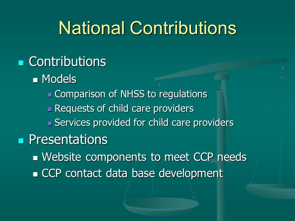 National Contributions Contributions Contributions Models Models Comparison of NHSS to regulations Comparison of NHSS to regulations Requests of child care providers Requests of child care providers Services provided for child care providers Services provided for child care providers Presentations Presentations Website components to meet CCP needs Website components to meet CCP needs CCP contact data base development CCP contact data base development