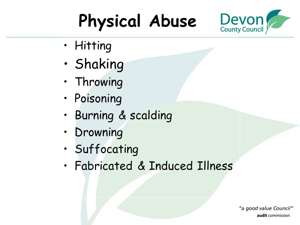 Physical Abuse Hitting Shaking Throwing Poisoning Burning & scalding Drowning Suffocating Fabricated & Induced Illness