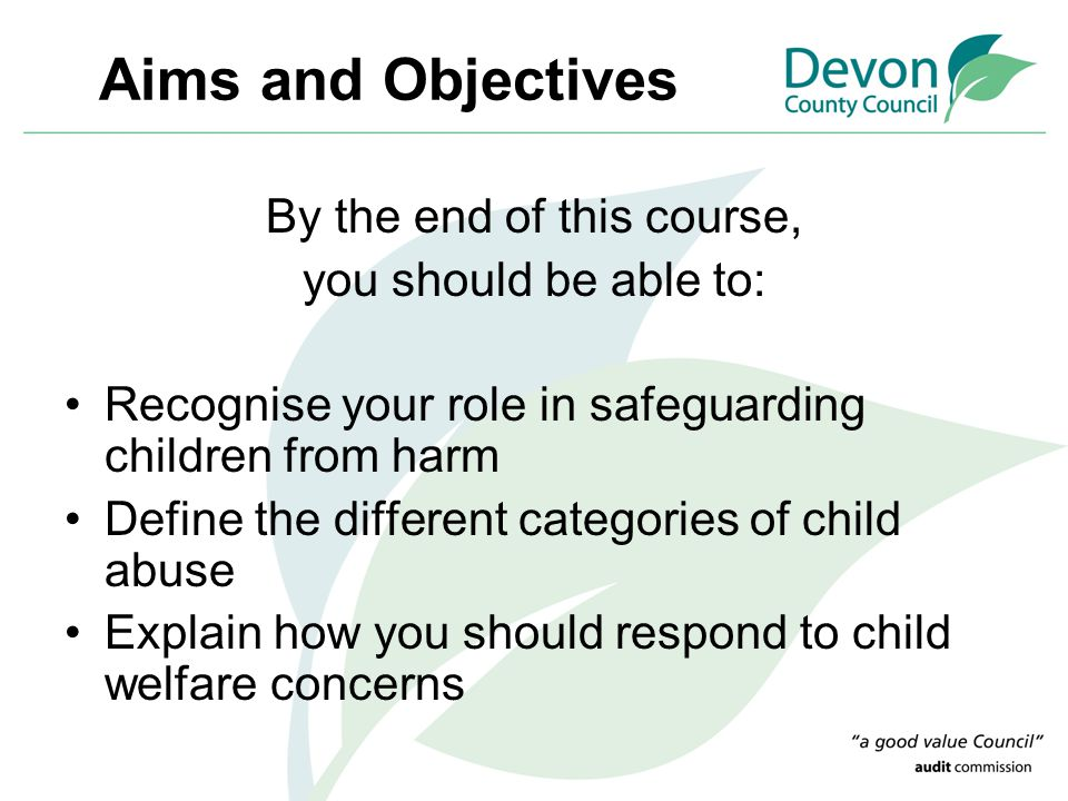 Aims and Objectives By the end of this course, you should be able to: Recognise your role in safeguarding children from harm Define the different cate