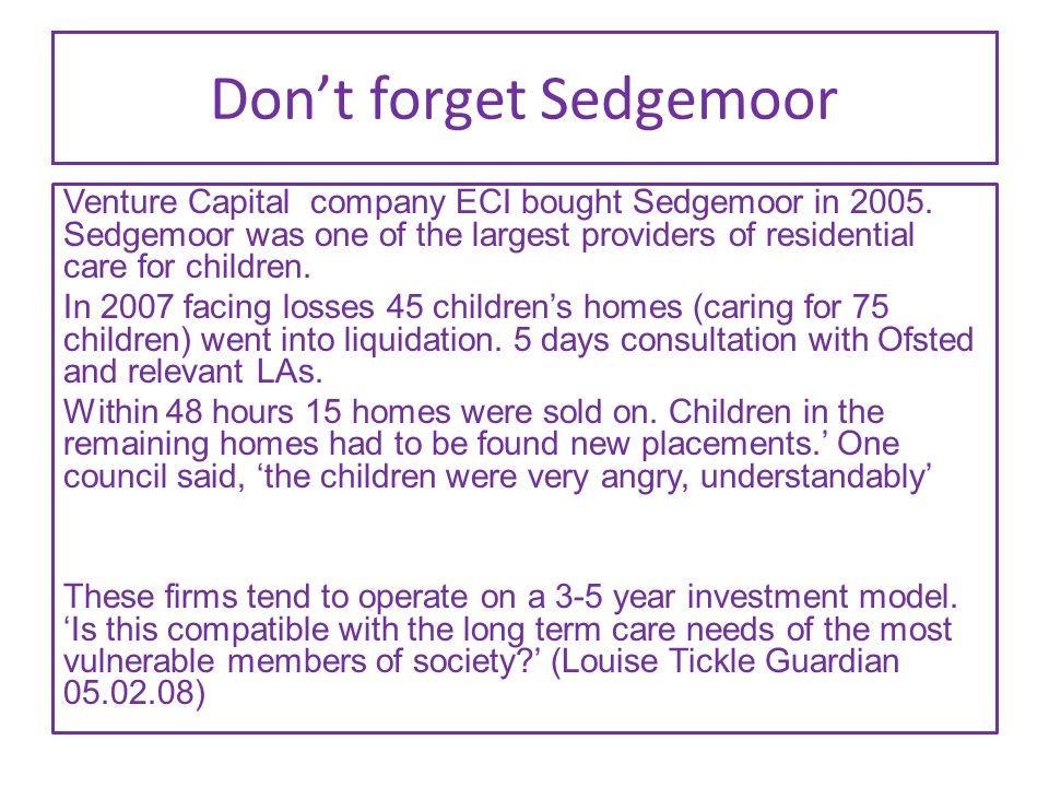 Don't forget Sedgemoor Venture Capital company ECI bought Sedgemoor in 2005.