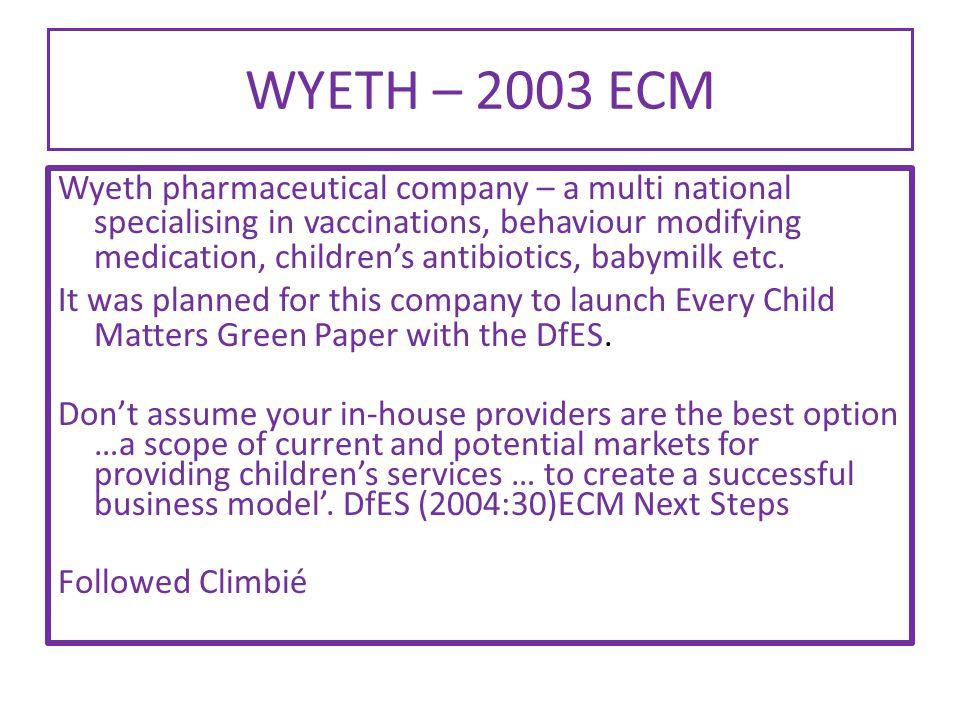 WYETH – 2003 ECM Wyeth pharmaceutical company – a multi national specialising in vaccinations, behaviour modifying medication, children's antibiotics, babymilk etc.