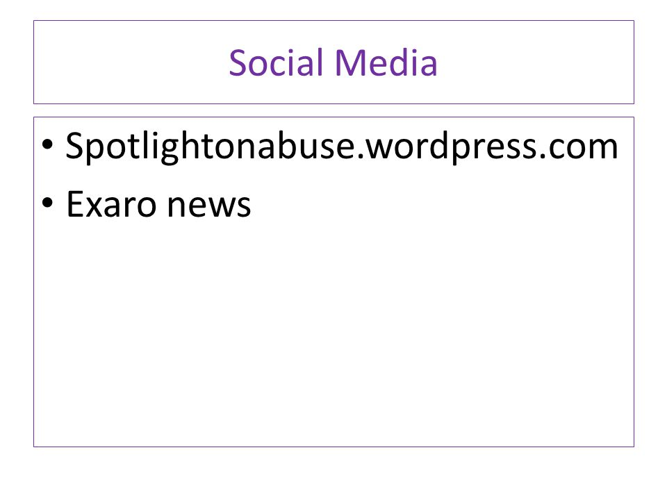 Social Media Spotlightonabuse.wordpress.com Exaro news