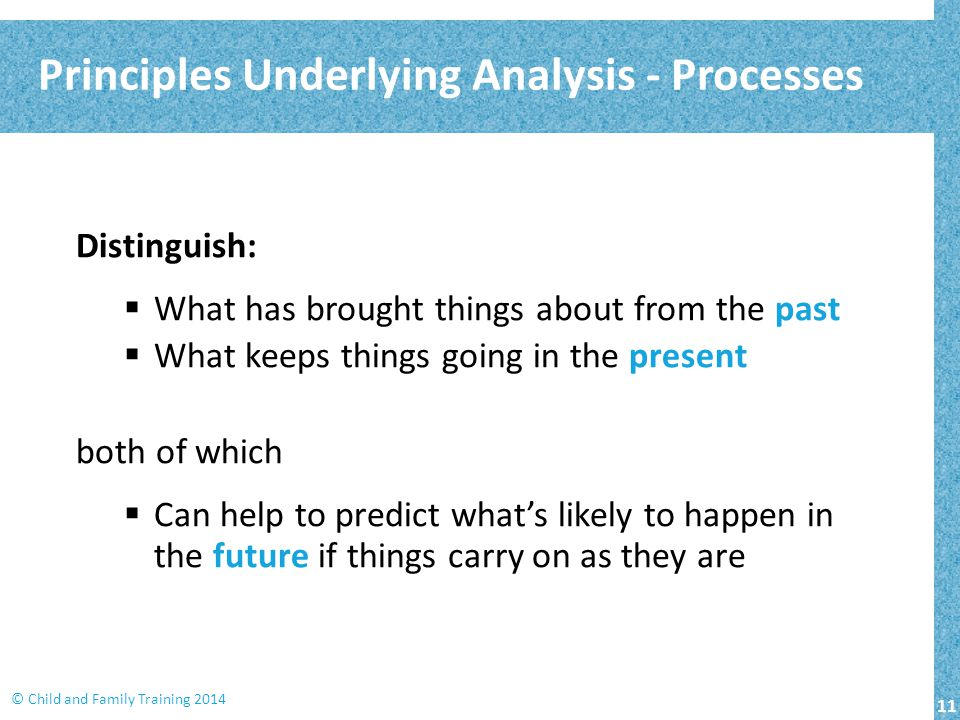 11 © Child and Family Training 2014 Distinguish:  What has brought things about from the past  What keeps things going in the present both of which  Can help to predict what's likely to happen in the future if things carry on as they are Principles Underlying Analysis - Processes