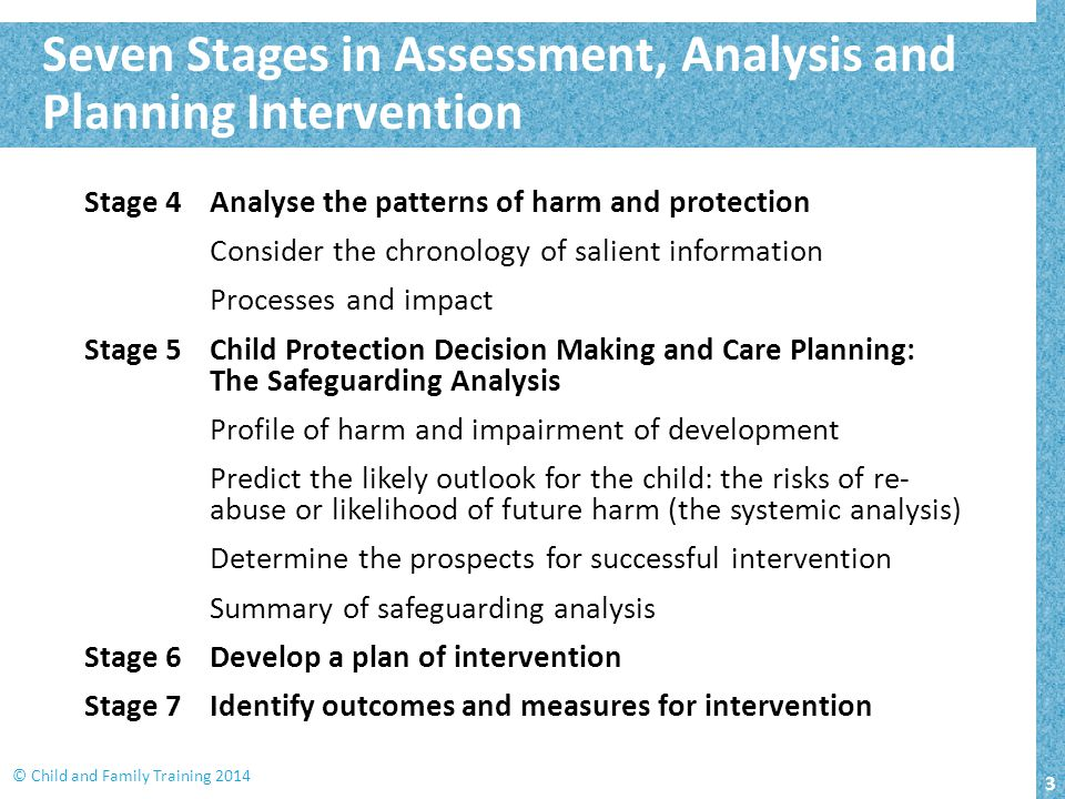 3 © Child and Family Training 2014 Stage 4Analyse the patterns of harm and protection Consider the chronology of salient information Processes and imp