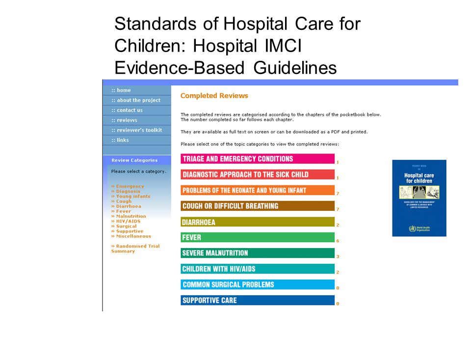Standards of Hospital Care for Children: Hospital IMCI Evidence-Based Guidelines