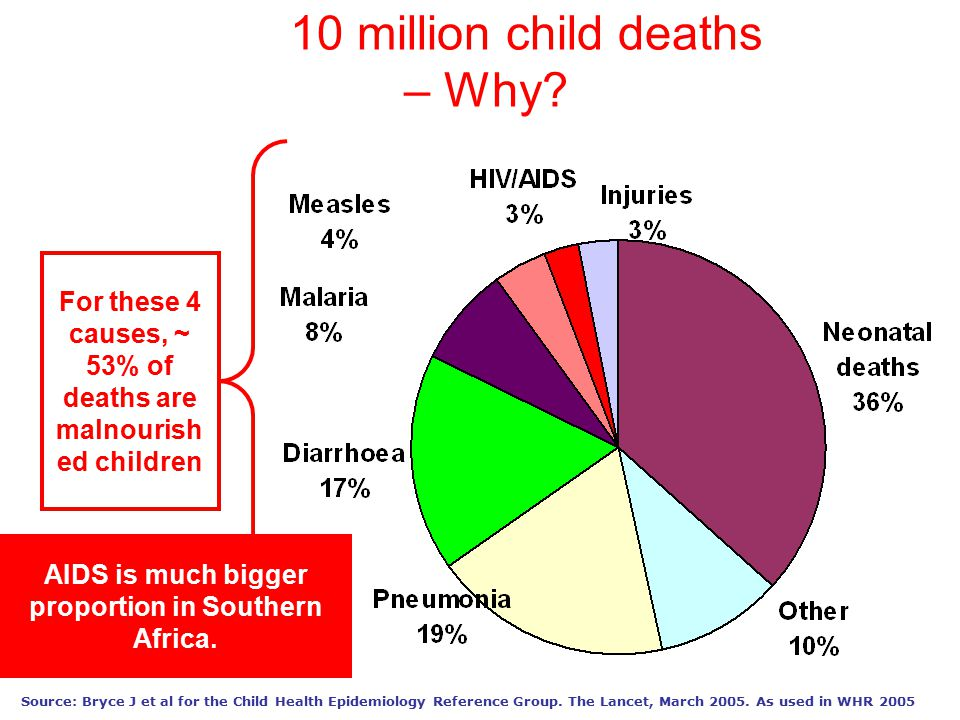 Source: Bryce J et al for the Child Health Epidemiology Reference Group. The Lancet, March 2005. As used in WHR 2005 10 million child deaths – Why? Fo