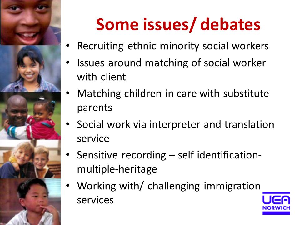 Some issues/ debates Recruiting ethnic minority social workers Issues around matching of social worker with client Matching children in care with subs