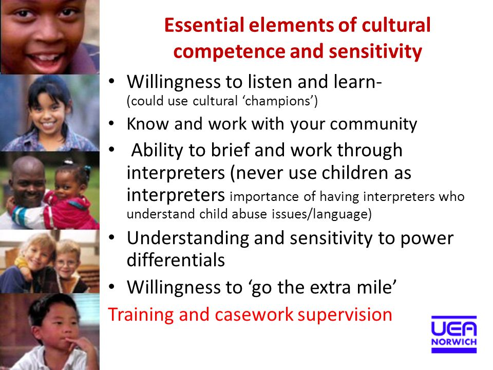 Essential elements of cultural competence and sensitivity Willingness to listen and learn- (could use cultural 'champions') Know and work with your co