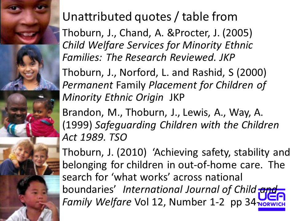 Unattributed quotes / table from Thoburn, J., Chand, A. &Procter, J. (2005) Child Welfare Services for Minority Ethnic Families: The Research Reviewed