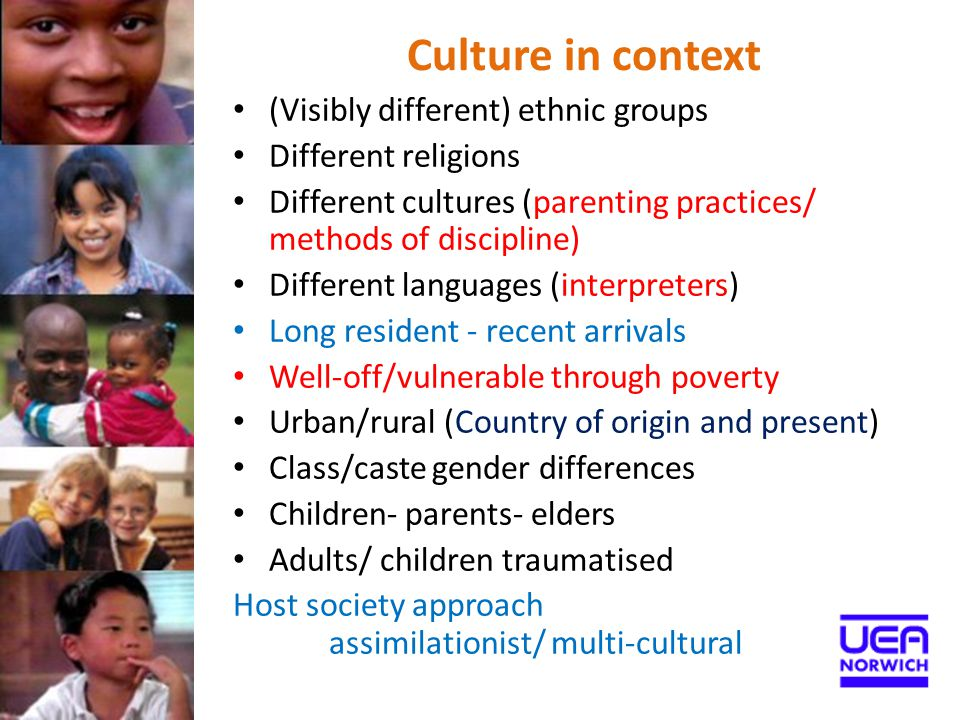 'recent elaborations on the culture concept point out that children are not passive recipients of socialization into their culture but shape and reinterpret it' Identifying culture by racial type/ skin colour 'may not be meaningful designations of culture or ethnicity but instead serve as proxies for economic status' Korbin, 2002 ' Culture and Child Maltreatment Child Abuse and Neglect 26