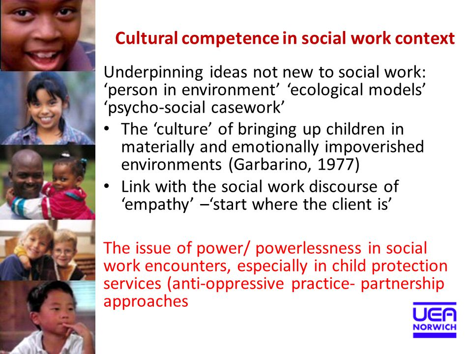 Areas of practice Community social work –supporting vulnerable groups and families Working with recent arrivals Unaccompanied minors Trafficked children Responding to allegations of abuse and neglect Children in short and long term care National and international adoption