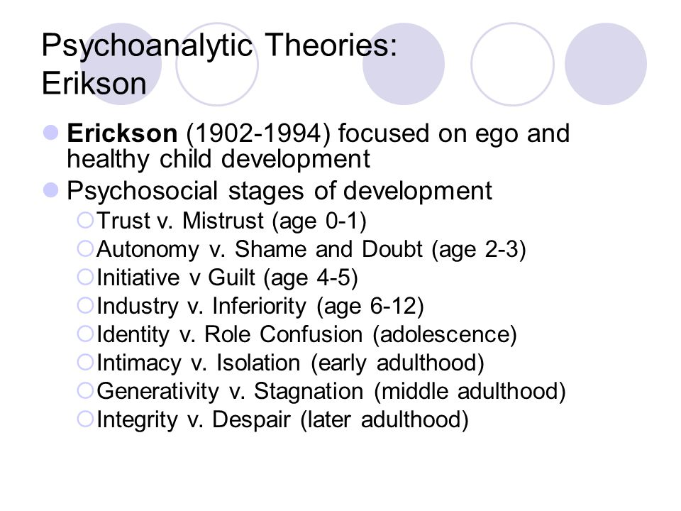 Psychoanalytic Theories: Erikson Erickson (1902-1994) focused on ego and healthy child development Psychosocial stages of development  Trust v. Mistr