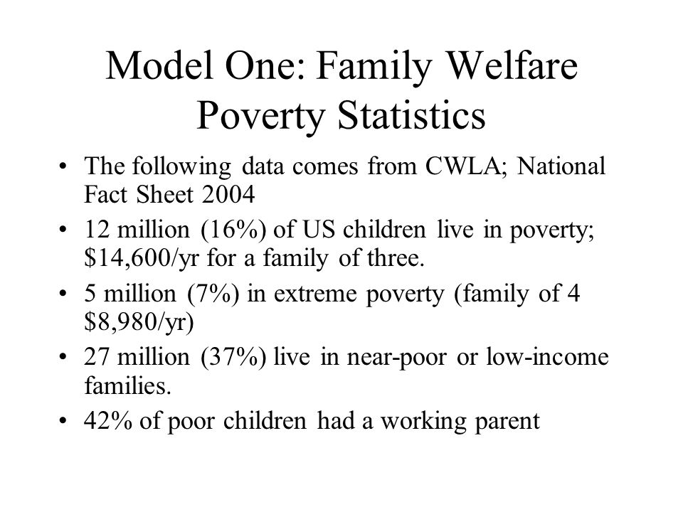 Model One: Family Welfare Poverty Statistics The following data comes from CWLA; National Fact Sheet 2004 12 million (16%) of US children live in pove