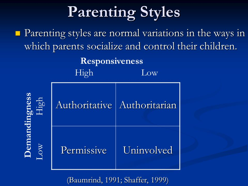Parenting Styles Parenting styles are normal variations in the ways in which parents socialize and control their children. Parenting styles are normal