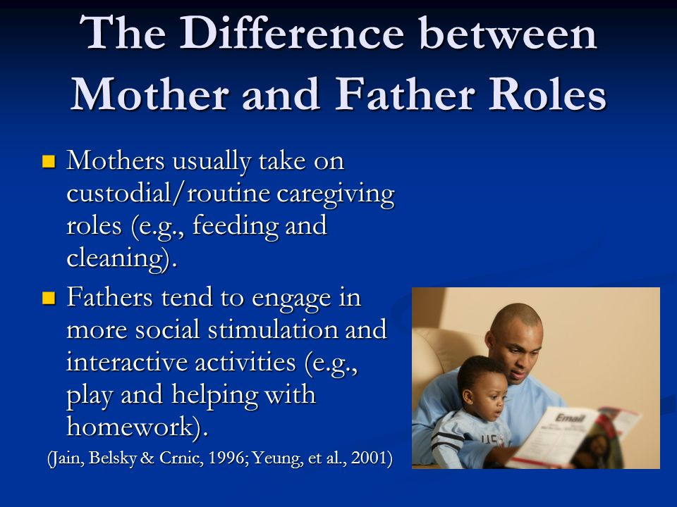 Benefits of the Father Father availability and involvement is associated with academic success as well as socio-emotional and cognitive well- being/gains in school- age children.