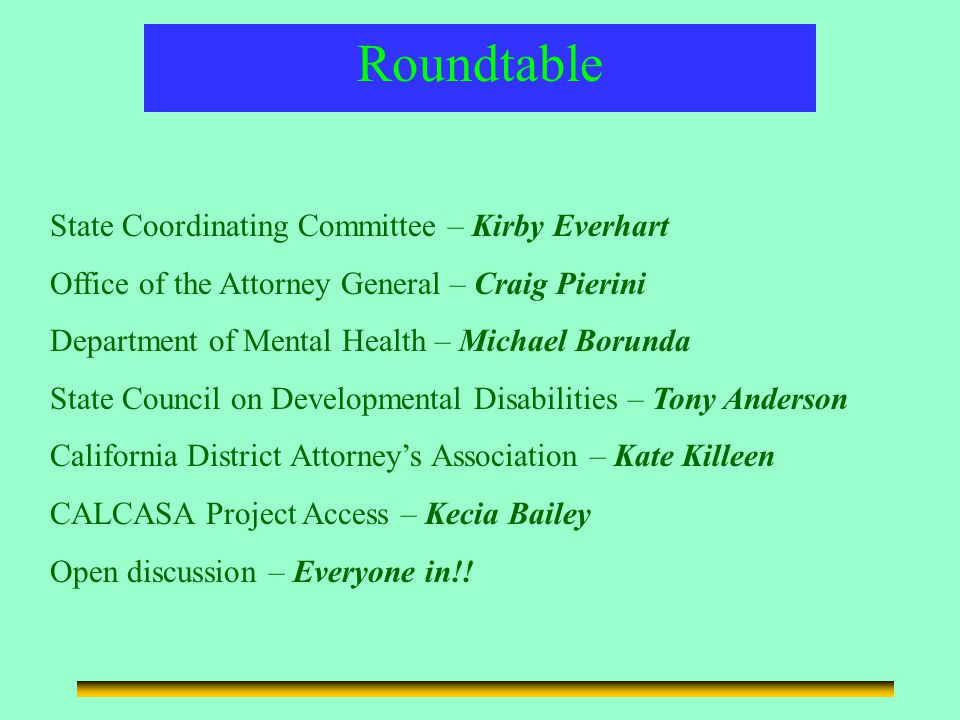 Child Abuse and Neglect/Disability Outreach Roundtable State Coordinating Committee – Kirby Everhart Office of the Attorney General – Craig Pierini Department of Mental Health – Michael Borunda State Council on Developmental Disabilities – Tony Anderson California District Attorney's Association – Kate Killeen CALCASA Project Access – Kecia Bailey Open discussion – Everyone in!!