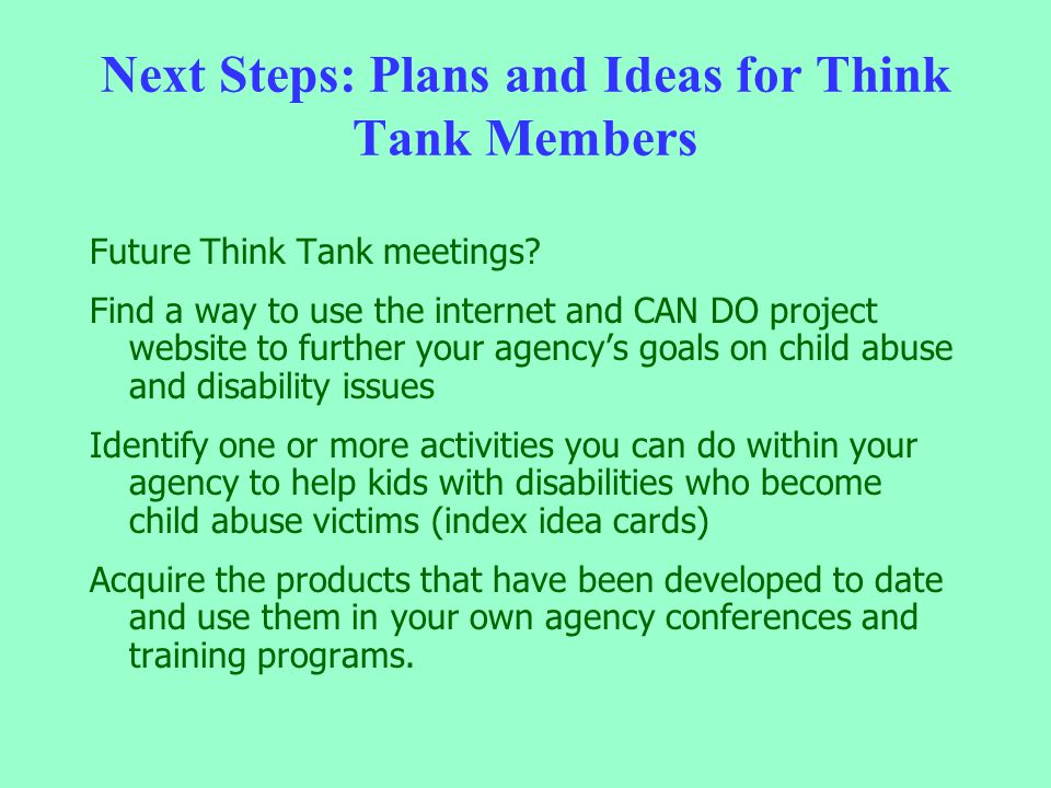 Next Steps: Plans and Ideas for Think Tank Members Future Think Tank meetings? Find a way to use the internet and CAN DO project website to further yo