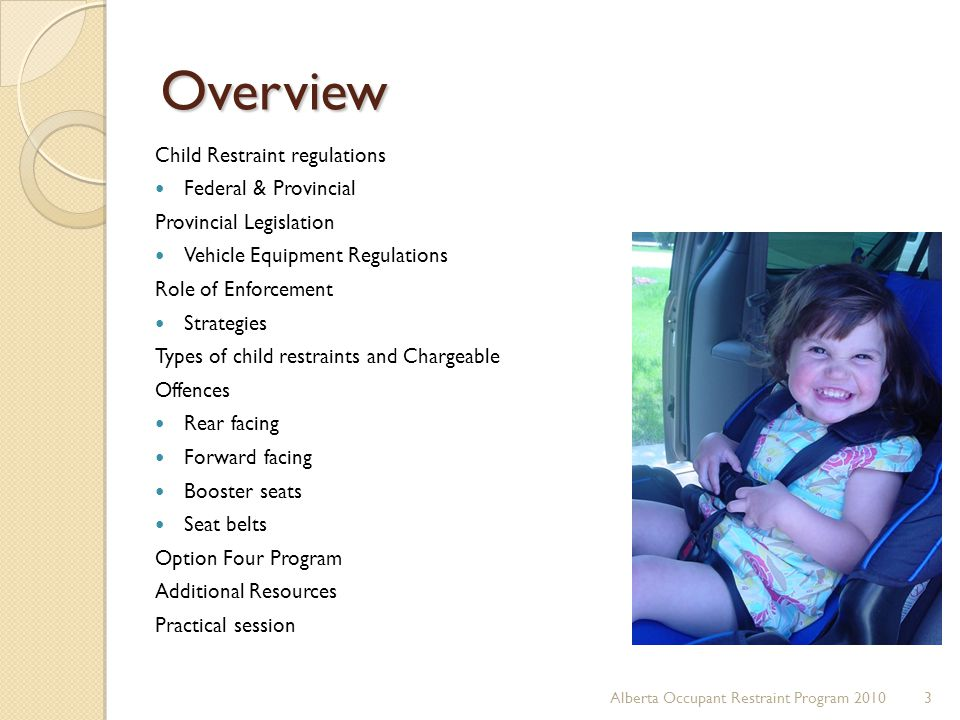 Overview Child Restraint regulations Federal & Provincial Provincial Legislation Vehicle Equipment Regulations Role of Enforcement Strategies Types of