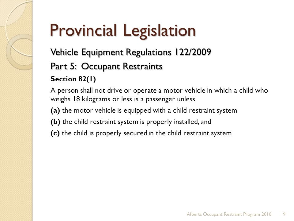 Provincial Legislation Vehicle Equipment Regulations 122/2009 Part 5: Occupant Restraints Section 82(1) A person shall not drive or operate a motor ve