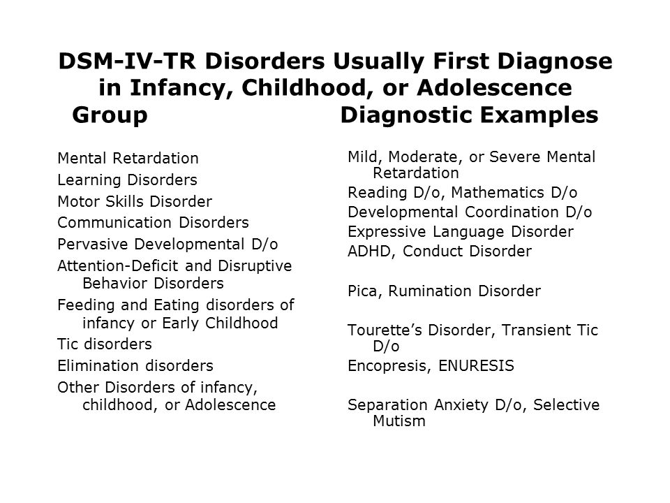 DSM-IV-TR Disorders Usually First Diagnose in Infancy, Childhood, or Adolescence GroupDiagnostic Examples Mental Retardation Learning Disorders Motor Skills Disorder Communication Disorders Pervasive Developmental D/o Attention-Deficit and Disruptive Behavior Disorders Feeding and Eating disorders of infancy or Early Childhood Tic disorders Elimination disorders Other Disorders of infancy, childhood, or Adolescence Mild, Moderate, or Severe Mental Retardation Reading D/o, Mathematics D/o Developmental Coordination D/o Expressive Language Disorder ADHD, Conduct Disorder Pica, Rumination Disorder Tourette's Disorder, Transient Tic D/o Encopresis, ENURESIS Separation Anxiety D/o, Selective Mutism