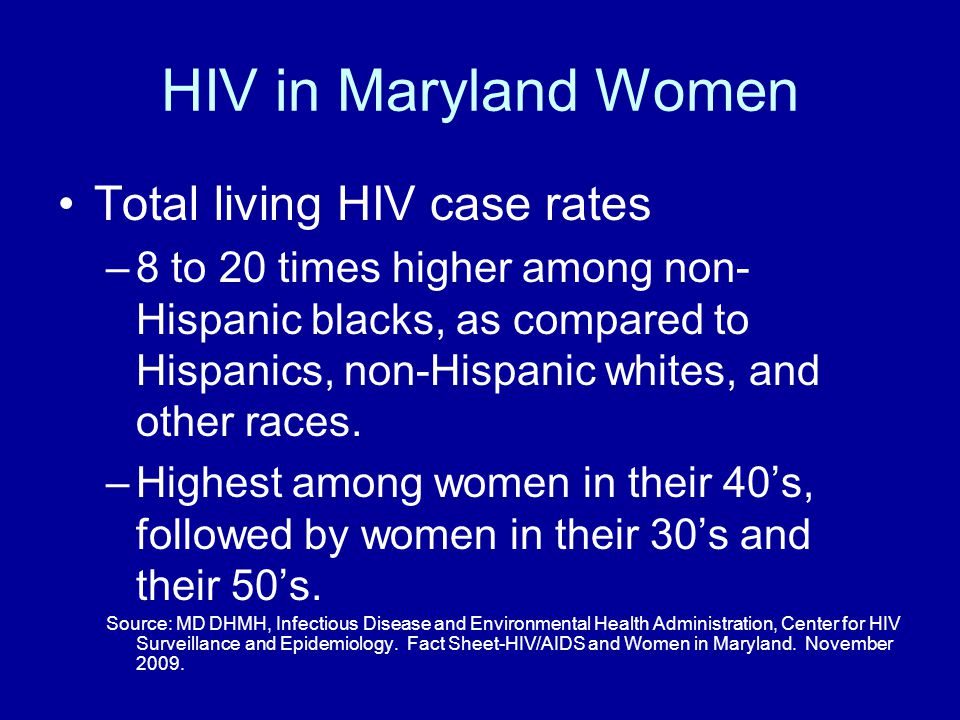 HIV in Maryland Women Total living HIV case rates –8 to 20 times higher among non- Hispanic blacks, as compared to Hispanics, non-Hispanic whites, and other races.