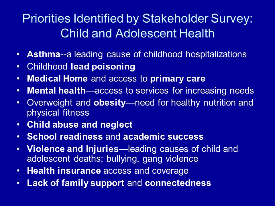 Priorities Identified by Stakeholder Survey: Child and Adolescent Health Asthma--a leading cause of childhood hospitalizations Childhood lead poisoning Medical Home and access to primary care Mental health—access to services for increasing needs Overweight and obesity—need for healthy nutrition and physical fitness Child abuse and neglect School readiness and academic success Violence and Injuries—leading causes of child and adolescent deaths; bullying, gang violence Health insurance access and coverage Lack of family support and connectedness
