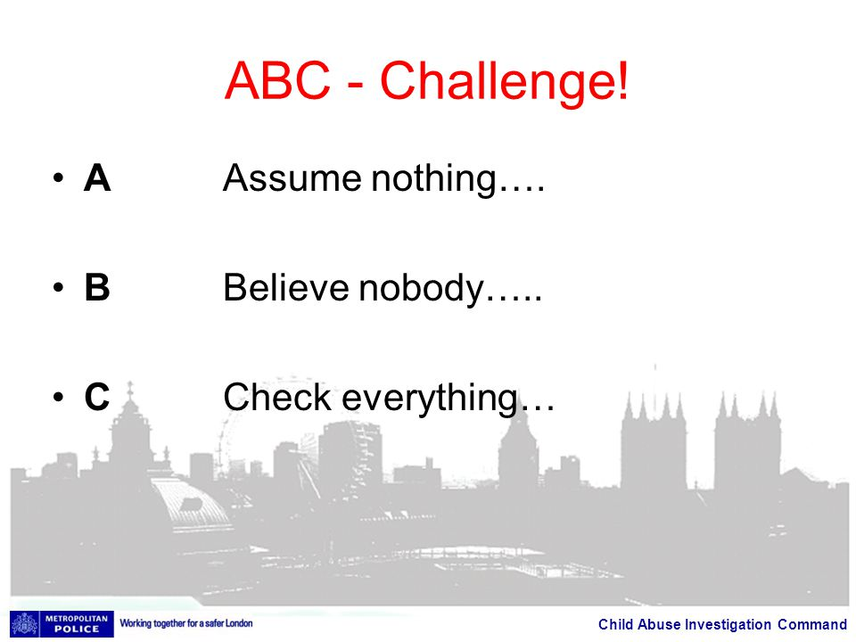 Child Abuse Investigation Command ABC - Challenge.