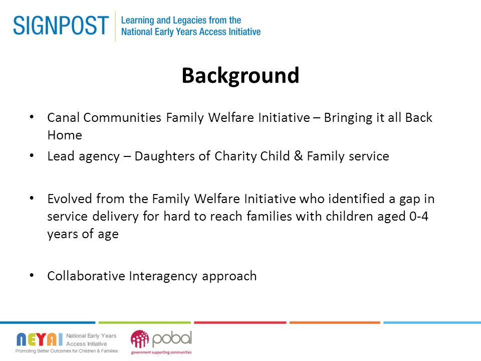 Background Canal Communities Family Welfare Initiative – Bringing it all Back Home Lead agency – Daughters of Charity Child & Family service Evolved f