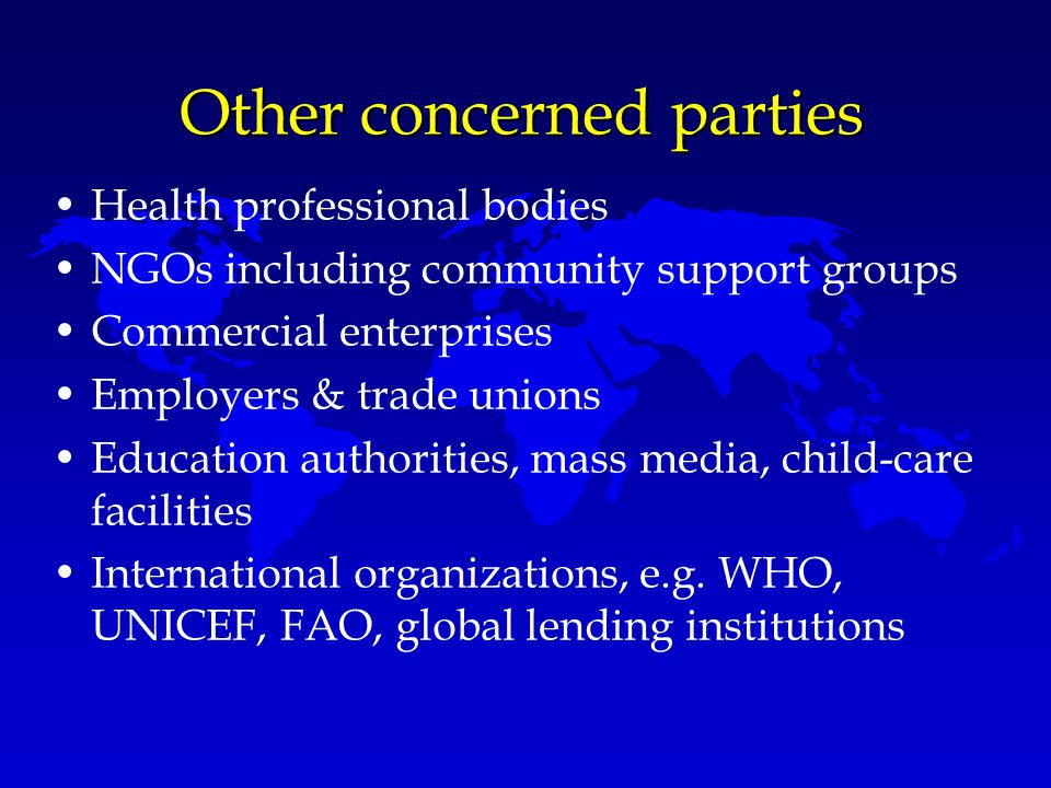 Other concerned parties Health professional bodies NGOs including community support groups Commercial enterprises Employers & trade unions Education a