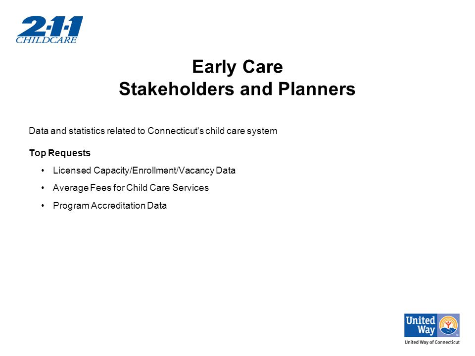 Early Care Stakeholders and Planners Data and statistics related to Connecticut s child care system Top Requests Licensed Capacity/Enrollment/Vacancy Data Average Fees for Child Care Services Program Accreditation Data