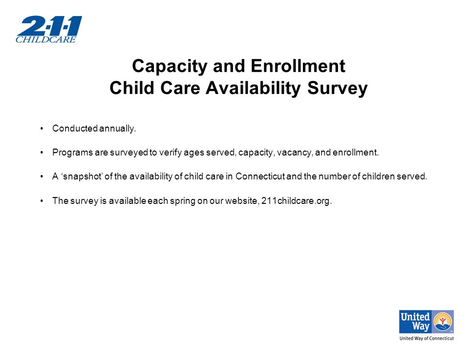 Capacity and Enrollment Child Care Availability Survey Conducted annually.