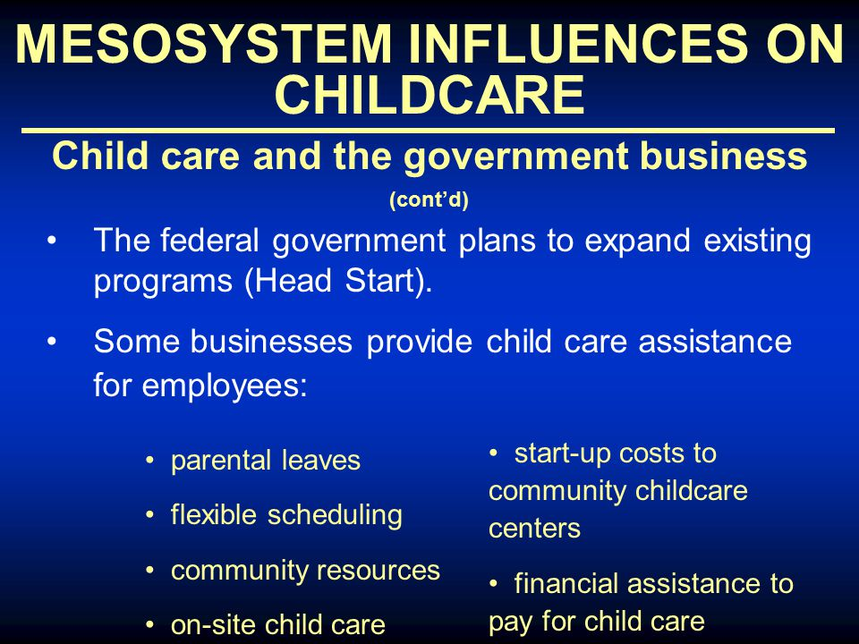 MESOSYSTEM INFLUENCES ON CHILDCARE Child care and the government business (cont'd) The federal government plans to expand existing programs (Head Start).