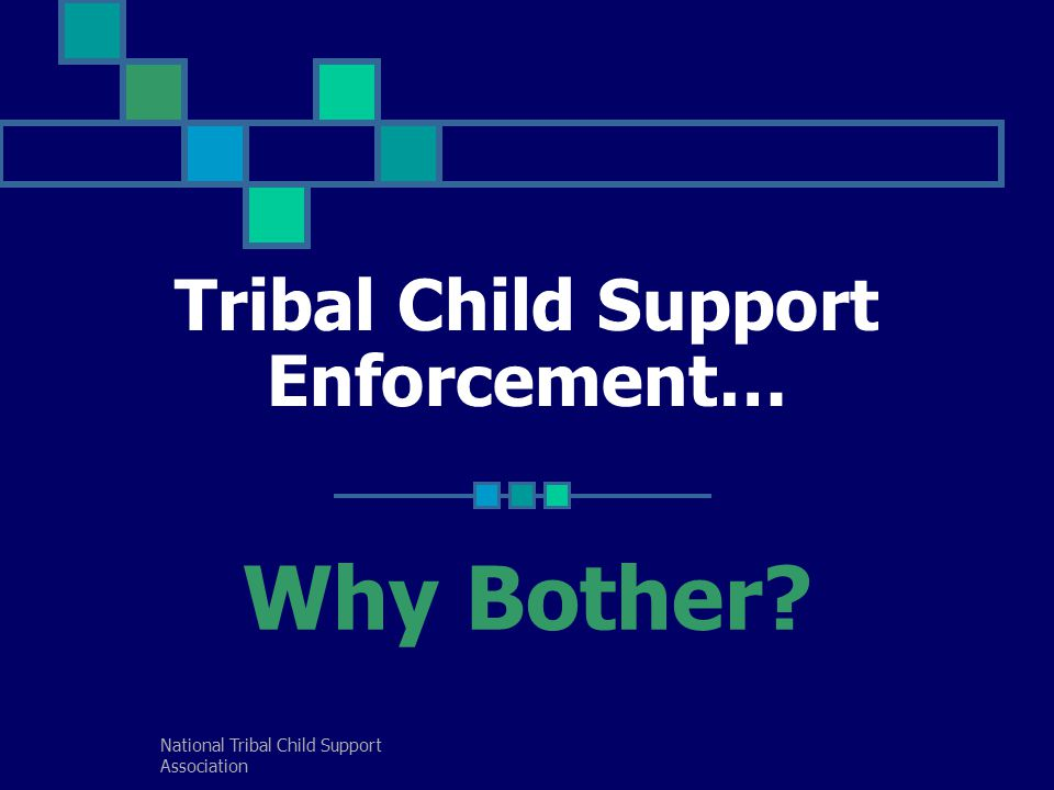 National Tribal Child Support Association Tribal Child Support Enforcement… Why Bother?