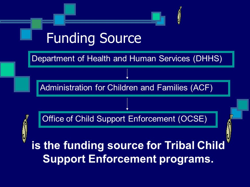 Funding Source Department of Health and Human Services (DHHS) Administration for Children and Families (ACF) Office of Child Support Enforcement (OCSE) is the funding source for Tribal Child Support Enforcement programs.