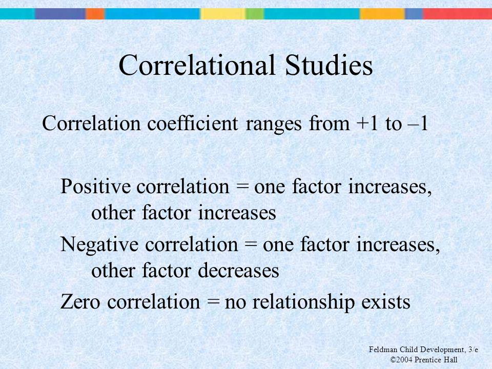Feldman Child Development, 3/e ©2004 Prentice Hall Correlational Studies Correlation coefficient ranges from +1 to –1 Positive correlation = one facto