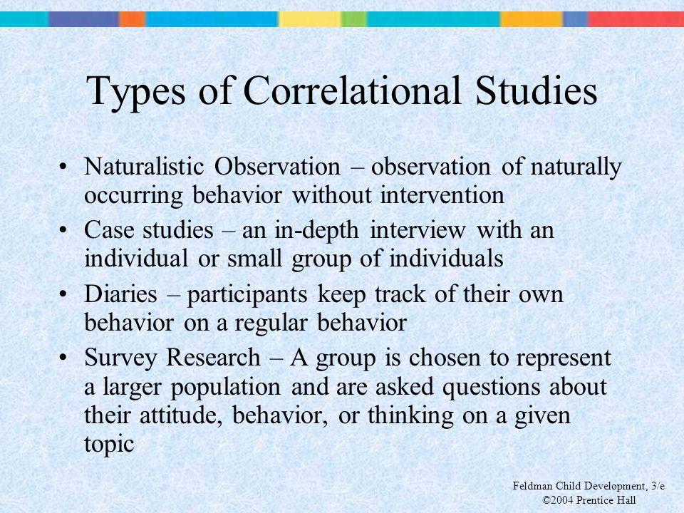 Feldman Child Development, 3/e ©2004 Prentice Hall Types of Correlational Studies Naturalistic Observation – observation of naturally occurring behavi