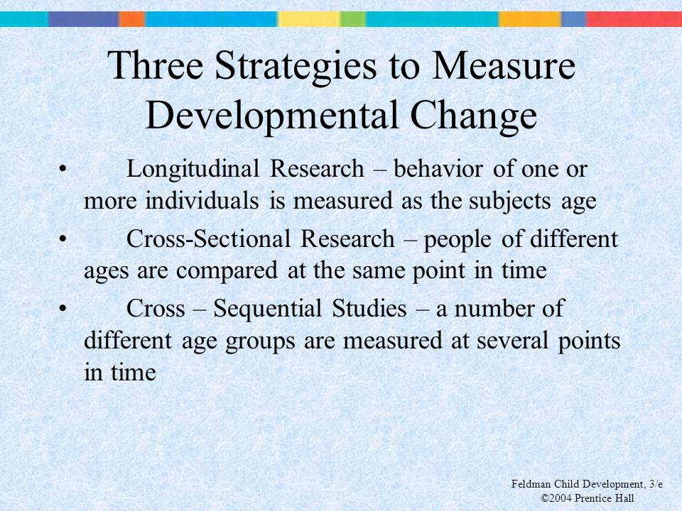 Feldman Child Development, 3/e ©2004 Prentice Hall Three Strategies to Measure Developmental Change Longitudinal Research – behavior of one or more in