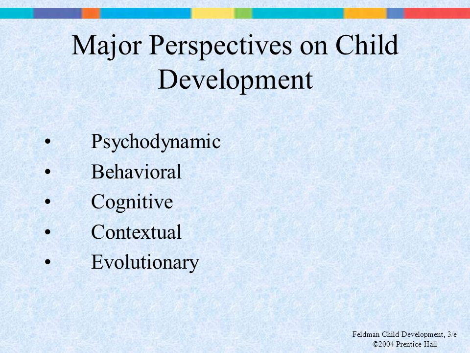 Feldman Child Development, 3/e ©2004 Prentice Hall Major Perspectives on Child Development Psychodynamic Behavioral Cognitive Contextual Evolutionary
