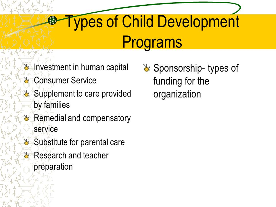 Types of Child Development Programs Investment in human capital Consumer Service Supplement to care provided by families Remedial and compensatory ser