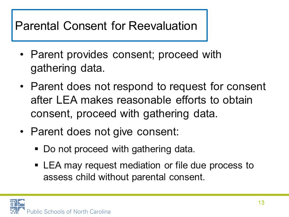 Parental Consent for Reevaluation Parent provides consent; proceed with gathering data.