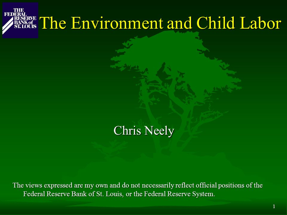 1 The Environment and Child Labor Chris Neely The views expressed are my own and do not necessarily reflect official positions of the Federal Reserve Bank of St.