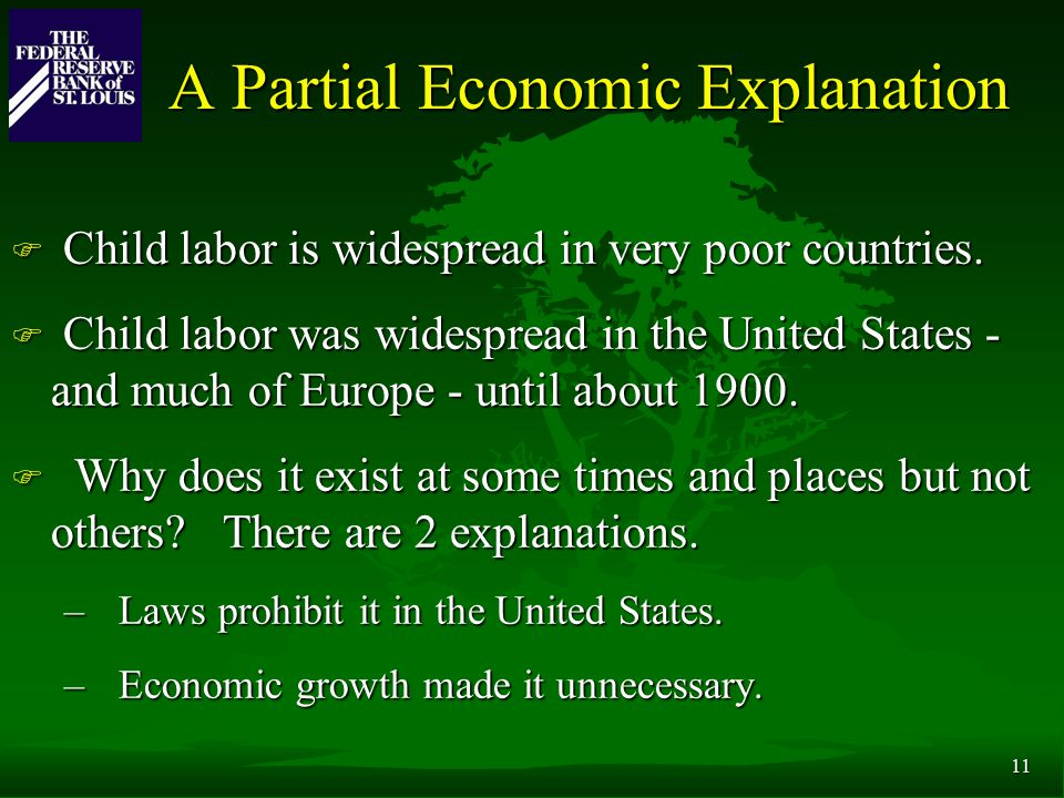 11 A Partial Economic Explanation F Child labor is widespread in very poor countries.