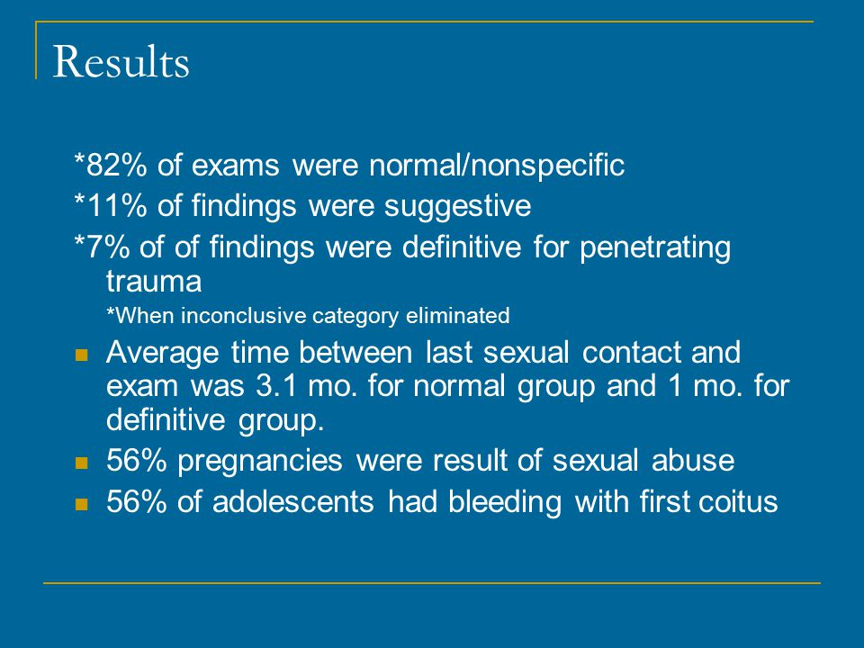 Results *82% of exams were normal/nonspecific *11% of findings were suggestive *7% of of findings were definitive for penetrating trauma *When inconclusive category eliminated Average time between last sexual contact and exam was 3.1 mo.