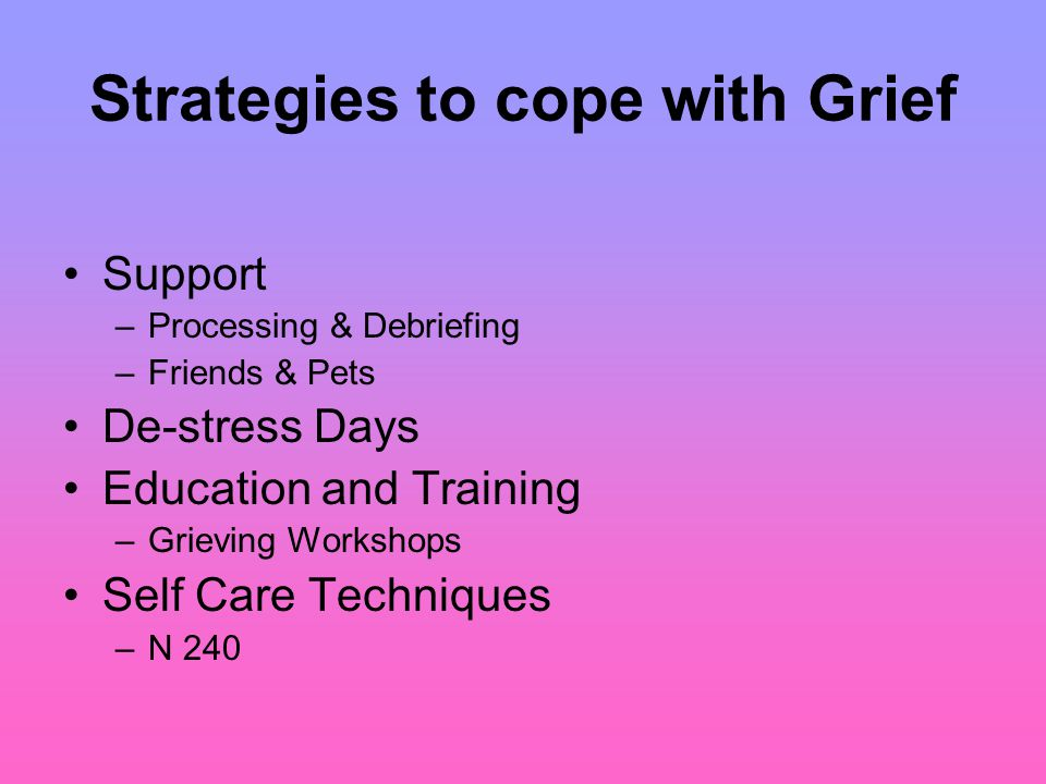 Strategies to cope with Grief Support –Processing & Debriefing –Friends & Pets De-stress Days Education and Training –Grieving Workshops Self Care Techniques –N 240