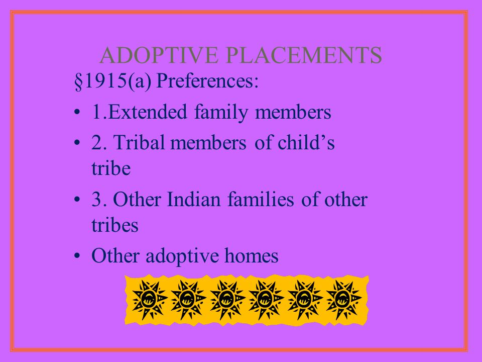 ADOPTIVE PLACEMENTS §1915(a) Preferences: 1.Extended family members 2.