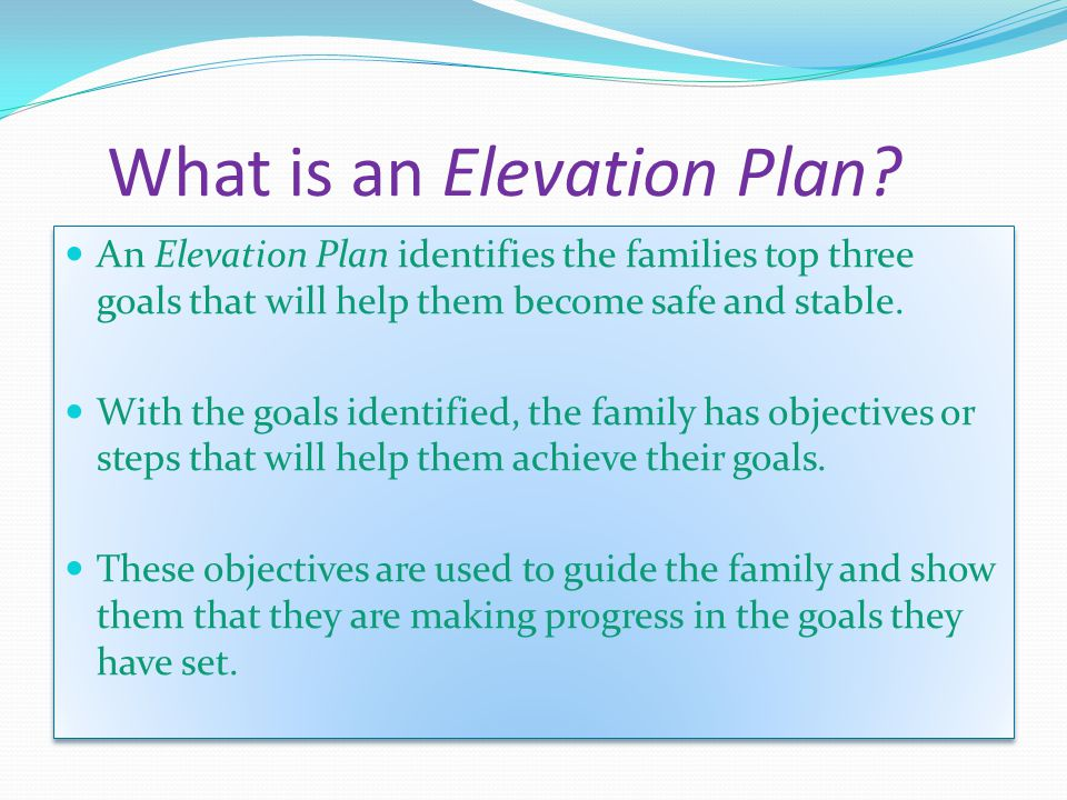 What is an Elevation Plan.
