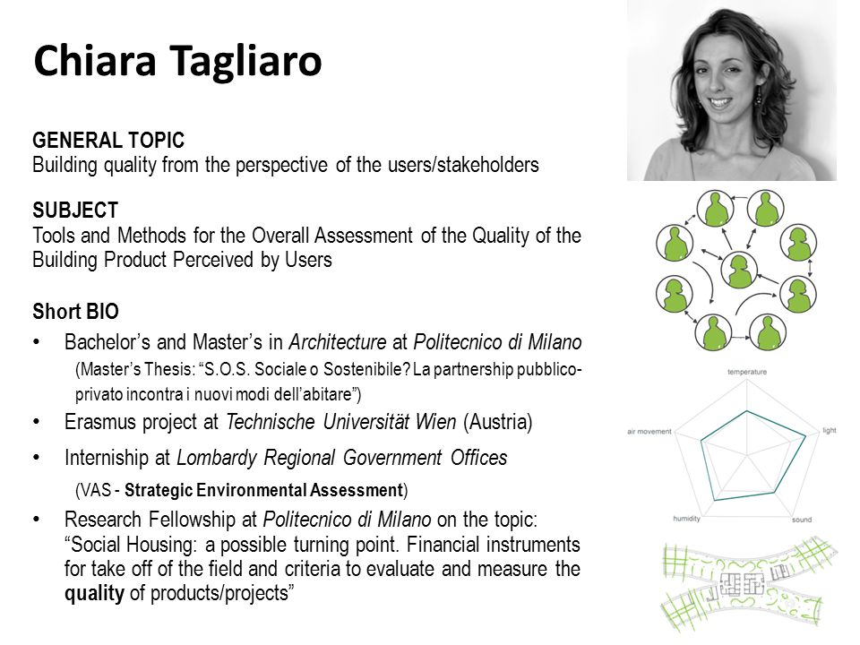 Chiara Tagliaro GENERAL TOPIC Building quality from the perspective of the users/stakeholders SUBJECT Tools and Methods for the Overall Assessment of the Quality of the Building Product Perceived by Users Short BIO Bachelor's and Master's in Architecture at Politecnico di Milano (Master's Thesis: S.O.S.