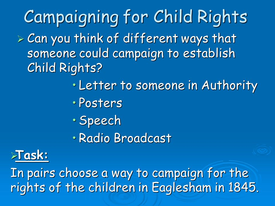Campaigning for Child Rights  Can you think of different ways that someone could campaign to establish Child Rights.