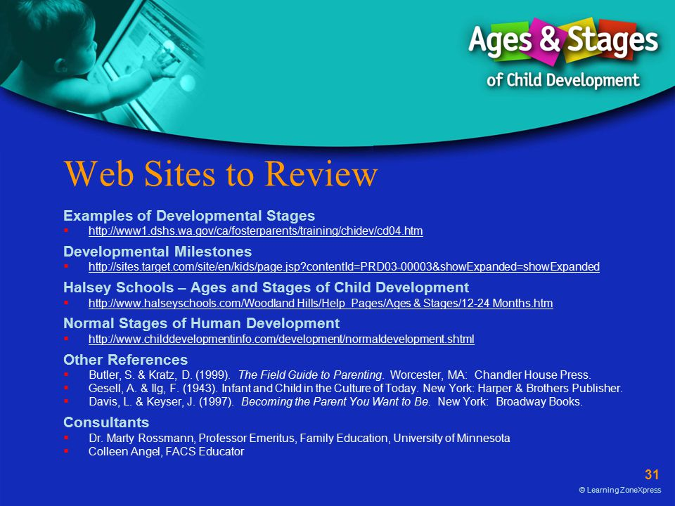 31 © Learning ZoneXpress Web Sites to Review Examples of Developmental Stages  http://www1.dshs.wa.gov/ca/fosterparents/training/chidev/cd04.htm http://www1.dshs.wa.gov/ca/fosterparents/training/chidev/cd04.htm Developmental Milestones  http://sites.target.com/site/en/kids/page.jsp?contentId=PRD03-00003&showExpanded=showExpanded http://sites.target.com/site/en/kids/page.jsp?contentId=PRD03-00003&showExpanded=showExpanded Halsey Schools – Ages and Stages of Child Development  http://www.halseyschools.com/Woodland Hills/Help_Pages/Ages & Stages/12-24 Months.htm http://www.halseyschools.com/Woodland Hills/Help_Pages/Ages & Stages/12-24 Months.htm Normal Stages of Human Development  http://www.childdevelopmentinfo.com/development/normaldevelopment.shtml http://www.childdevelopmentinfo.com/development/normaldevelopment.shtml Other References  Butler, S.