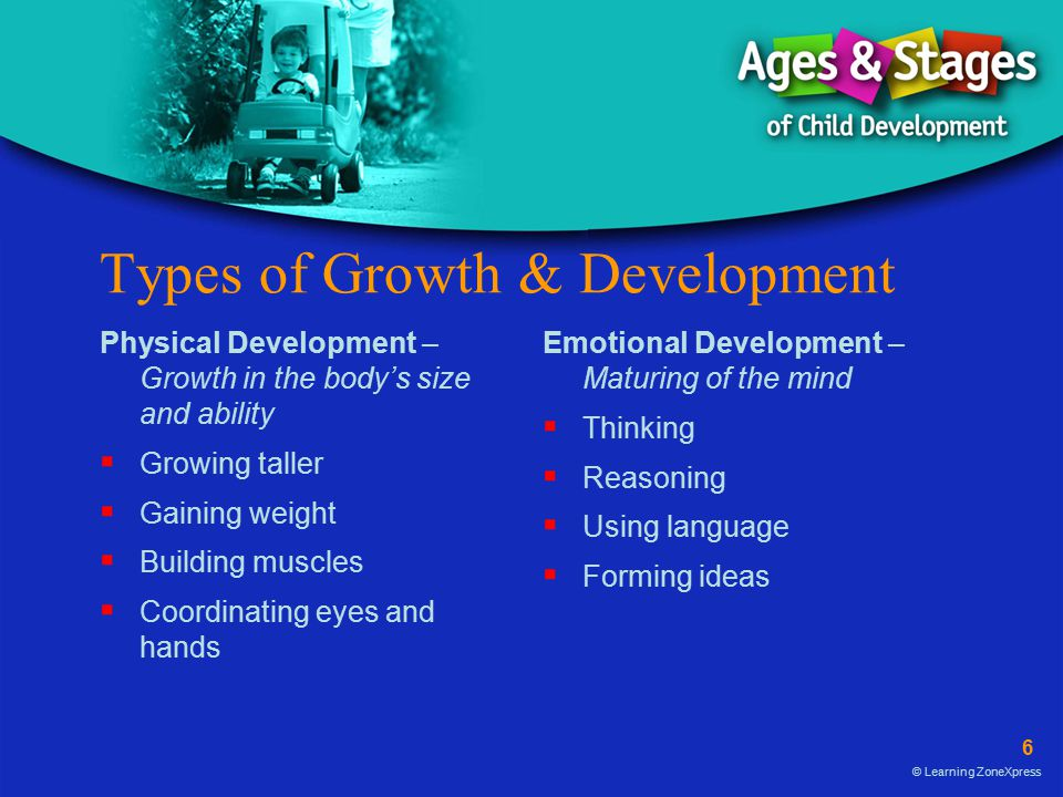 6 © Learning ZoneXpress Types of Growth & Development Physical Development – Growth in the body's size and ability  Growing taller  Gaining weight  Building muscles  Coordinating eyes and hands Emotional Development – Maturing of the mind  Thinking  Reasoning  Using language  Forming ideas